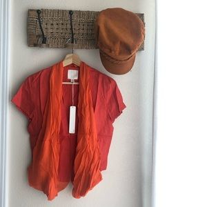 NWT Line & Dot (Revolve) Orange Linen Top Size M